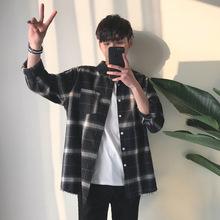 Aamon|春秋款男式长袖衬衫韩版时尚简约休闲衬衣外套薄款磨毛衬衫