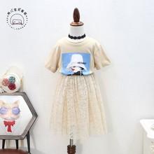 2019夏季韩版女童印花两件套裙套装?#34892;?#31461;短袖T恤蕾丝两件套代发