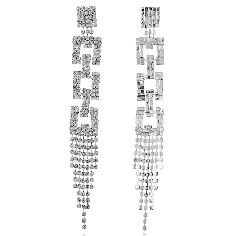 Alloy Fashion Tassel earring(silver white) NHKQ1816-silver-white
