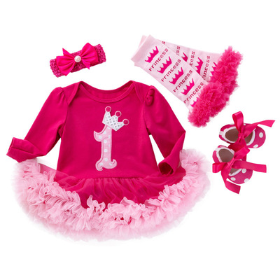 Baby birthday party dresses long sleeve Jumpsuit Baby birthday party dresses pink dress Garter girlsholiday skirt