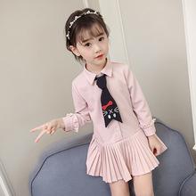 2018春季新款G1012连衣裙气质百褶女童领结长袖甜美衬衫裙连衣裙