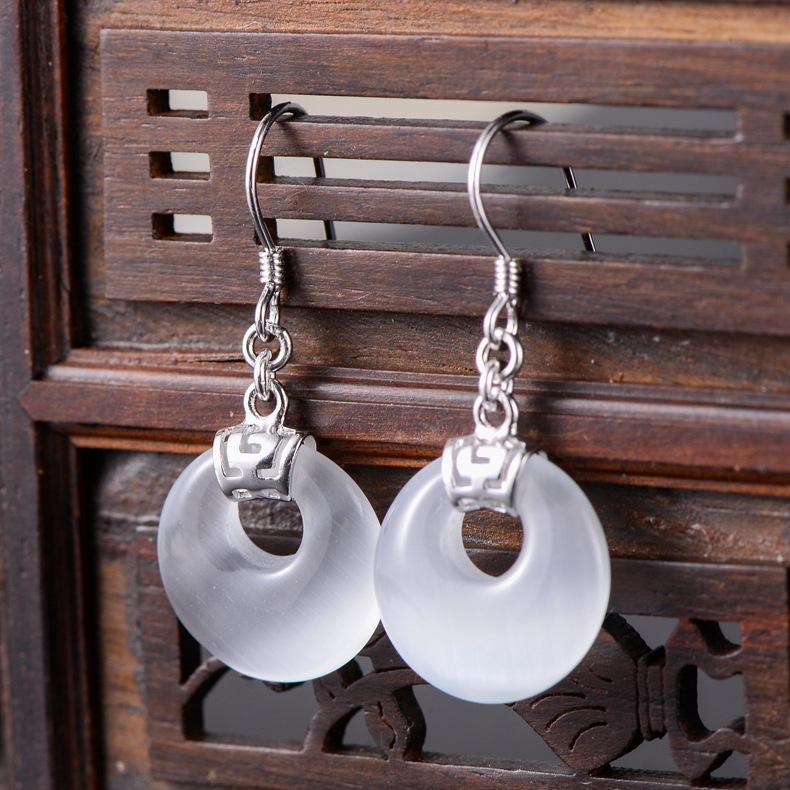 银饰批发925纯银饰品黑玛瑙小圆盘合成猫眼石时尚个性女款耳环