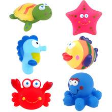 跨境搪膠洗澡捏捏玩具兒童戲水玩具卡通海洋動物寶寶浴室噴水小船