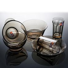 韩国进口钢化玻璃七件套 创意欧式玻璃餐具 家居日用碗盘餐具套装