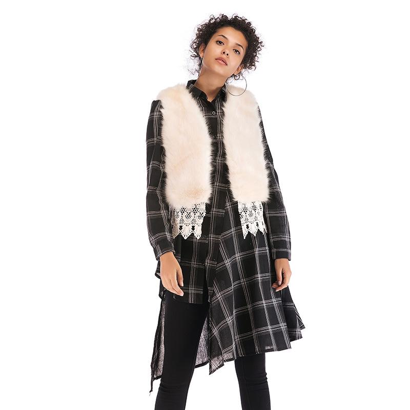 速卖通一件代发女装仿狐狸毛皮草外套时尚蕾丝拼接短款马甲背心