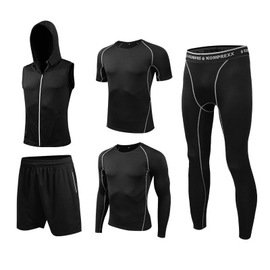 High-End Workout Clothes Autumn High Elastic Movement Set Male Quick-Drying Gym Tight Sportswear