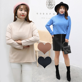Autumn and winter new large size women's bottoming shirt Fat mm increase plus fat pile collar sweater QYM222