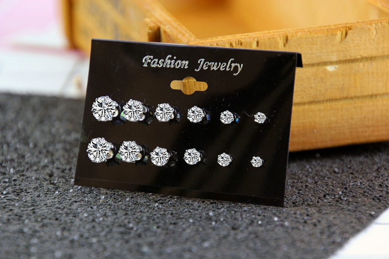 multi-size diamond earrings 6 pairs set NHPF285734