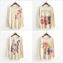 秋新款女装欧美套头淡彩桃花时尚针织衫蝙蝠袖印花毛衣ebay