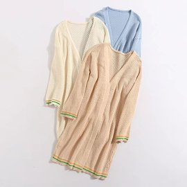 Women's wear spring and summer new hollowed-out large size college style knitting air conditioning cardigan thin