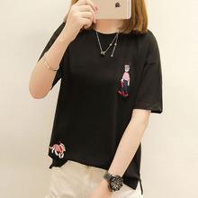 女式短袖T恤2018夏装新款时尚韩版女装百搭刺绣套头个性上衣潮
