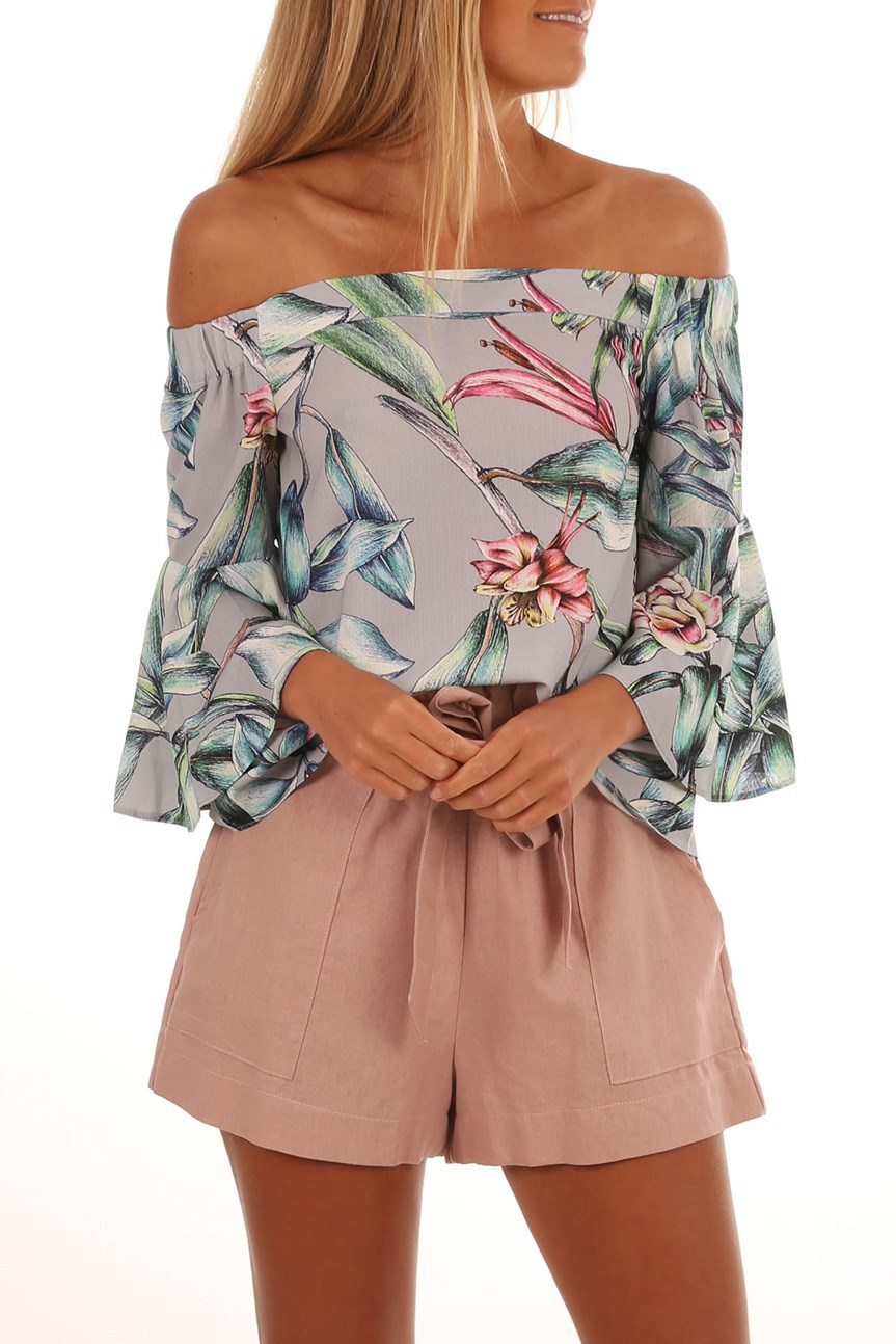 fashion new printed one-shoulder top T-shirt  NSYF1071