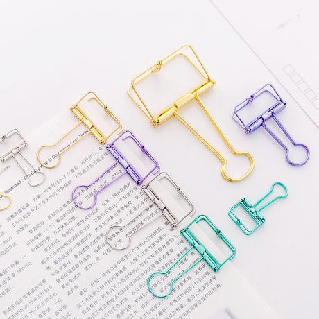 Nhỏ đơn giản kim loại rỗng Đuôi dài Clip văn phòng phẩm sáng tạo Xử lý màu sắc dễ thương Lưu trữ văn phòng Dovetail Clip