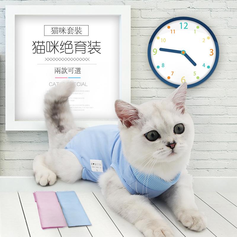 猫咪手术服母猫绝育服断奶服术后服防舔夏宠物猫弹性衣服防咬防脱