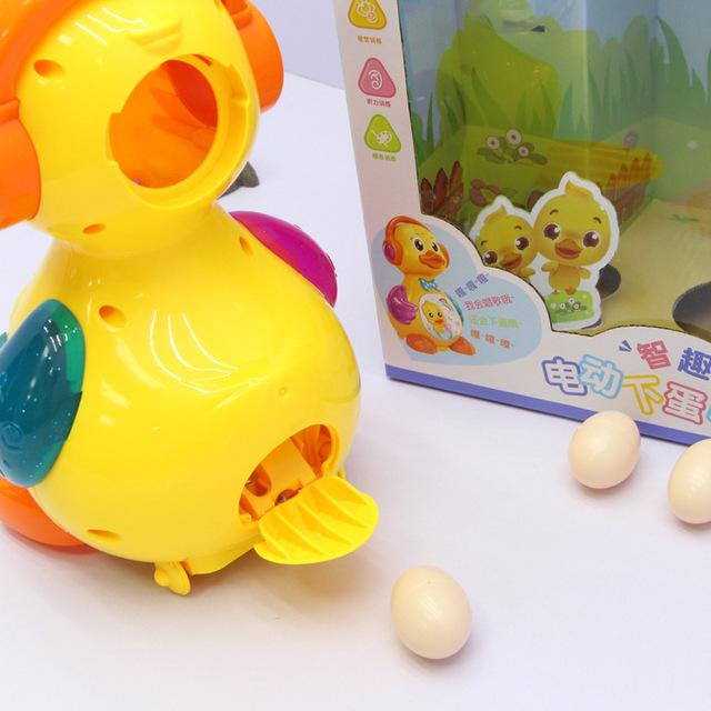 0619A lớn sẽ đi bộ dưới trứng vịt trẻ em điện giáo dục sớm câu đố vịt sống đồ chơi bán buôn với ánh sáng Thú cưng điện tử