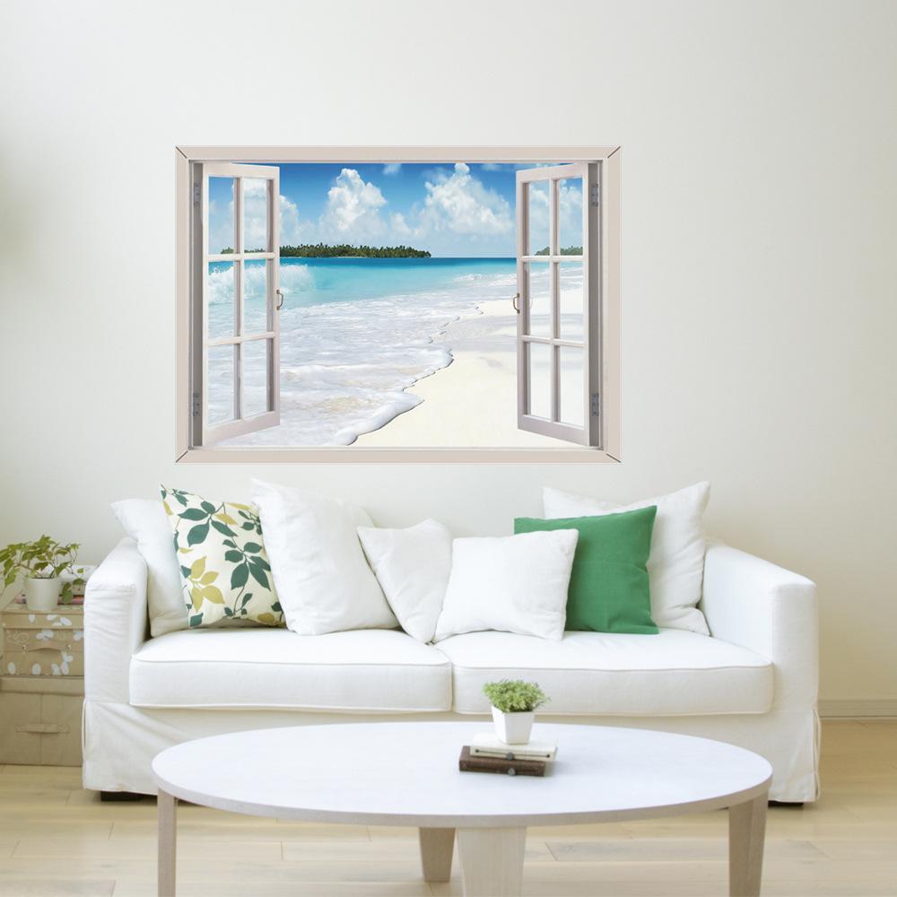 3d墙贴仿真窗户自粘墙贴客厅卧室背景防水美化装饰PVC墙面装饰