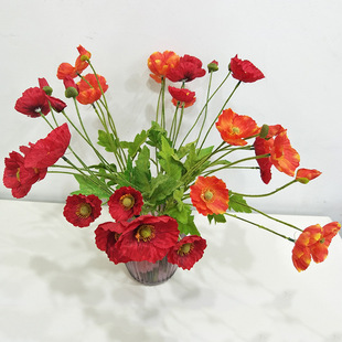 Hand-feel decorative flowers, home wedding decoration, artificial flowers, fake flowers, artificial poppies wholesale, poppies