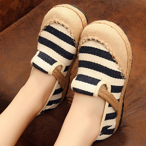 Beijing shoes light mouth round head lazy shoes stripe ethnic students shoes for girl