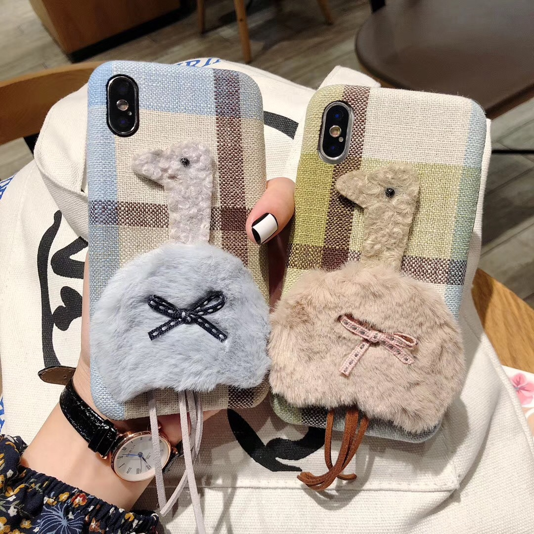 Fashion cloth ostrich British style pattern for iPhoneXR Apple 8plus mobile phone shell drop protection sleeve