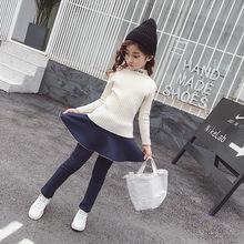 Quần legging nhung dày 2019 quần mới mùa đông giả hai mảnh quần váy ấm áp trẻ em phiên bản Hàn Quốc giản dị Culottes