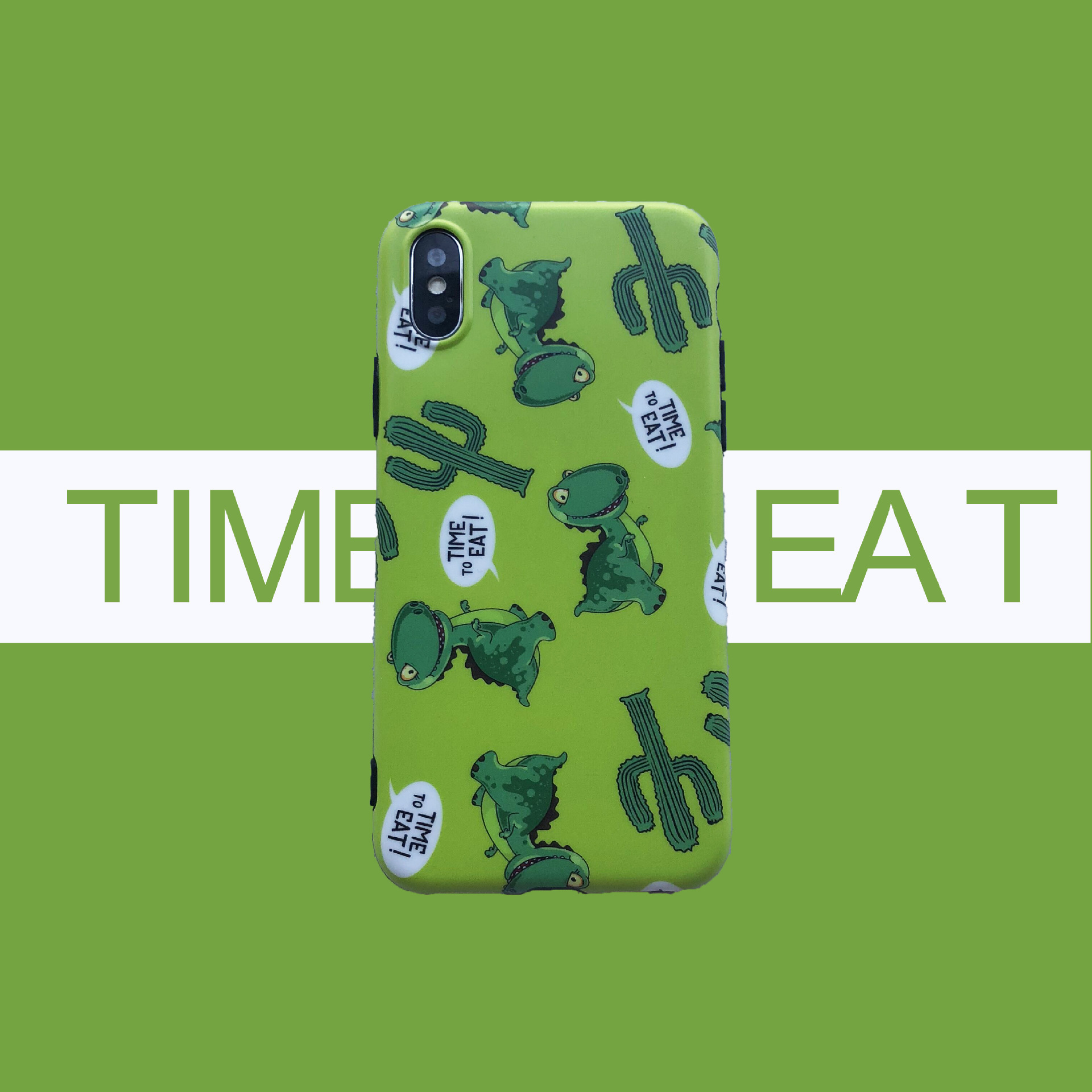 Cartoon cute green cactus dinosaur 6splus mobile phone shell ix/7plus/8/6S all-inclusive shatter-resistant soft