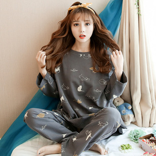 Long-sleeved pajamas women spring and autumn sweet and cute Korean casual home wear ladies pajamas new thin suit
