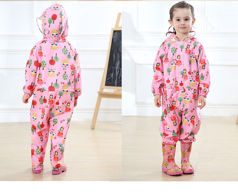 Toddler/Little Kids' cartoon Raincoat for Boys and Girls —— 3 Colors,Hooded,Have Set,One-piece 24
