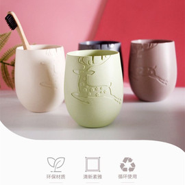 new product Mr. deer cup mouth wash cup creative wheat bamboo straw cup toothbrush simple brush tooth cup