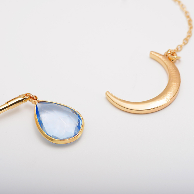 Simple and generous artificial gemstone moon water drop short necklace NHDP157411