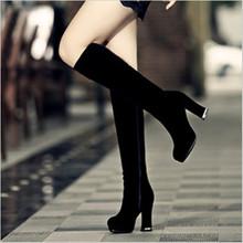 2018春秋季新款粗跟長筒靴子女士過膝中筒磨砂韓版百搭高筒高跟鞋