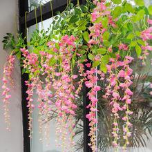 茉初仿真紫藤花壁掛婚禮裝飾花絹花酒店餐廳吊頂豆花藤條廠家直銷