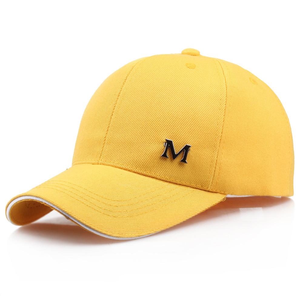 帽子女春夏季韩版M字母弯檐帽鸭舌帽棒球帽子男女防晒遮阳帽批发