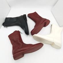 guidi短靴 歐洲站前拉鏈真皮平底中筒靴百搭馬丁靴女秋冬單靴紅