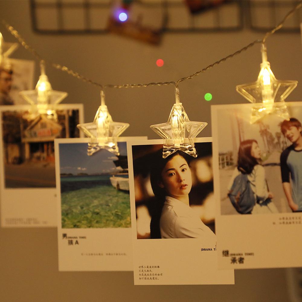 LED星星夹子灯相片照片墙灯串ins小彩灯房间布置生日圣诞节装饰灯