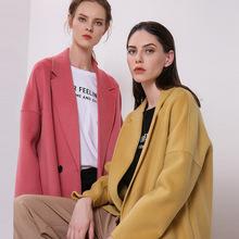 2018秋冬季新款双面羊绒大衣女士茧型羊毛外套中长款过膝一件代发