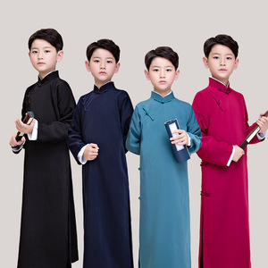Children boy male crosstalk performance long gown coat tang suit chinese kungfu clothing boys' stage performance clothes