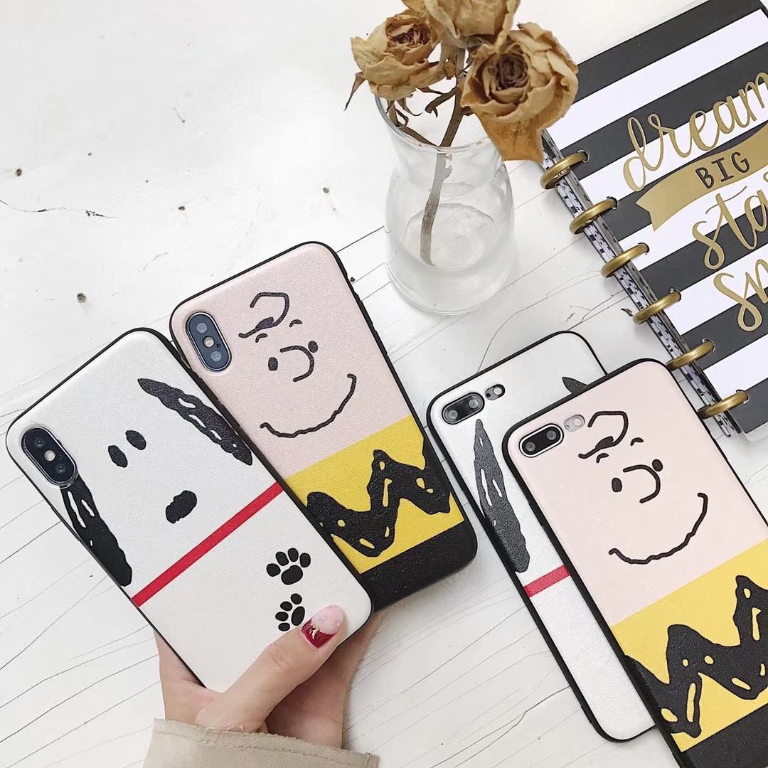 Japanese and Korean cute cartoon iphone8/X Snoopy puppy mobile phone protective shell silk pattern couple apple 7plus