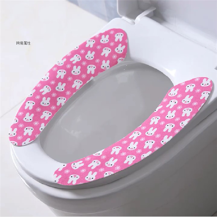 卡通印花保暖可粘贴式马桶垫 冬季可反复水洗浴室马桶坐垫坐便垫