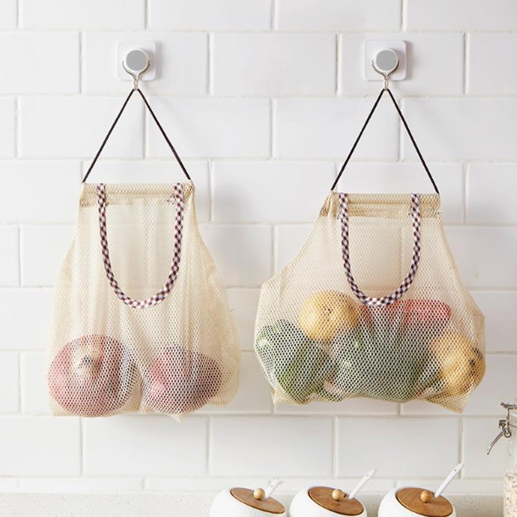 跨境創意廚房果蔬收納網袋多用生姜大蒜洋蔥分類袋收納掛袋儲物袋