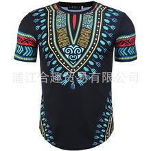 2018夏季新款男装时尚3D民族风碎花印花修身短袖圆领T恤男式现货