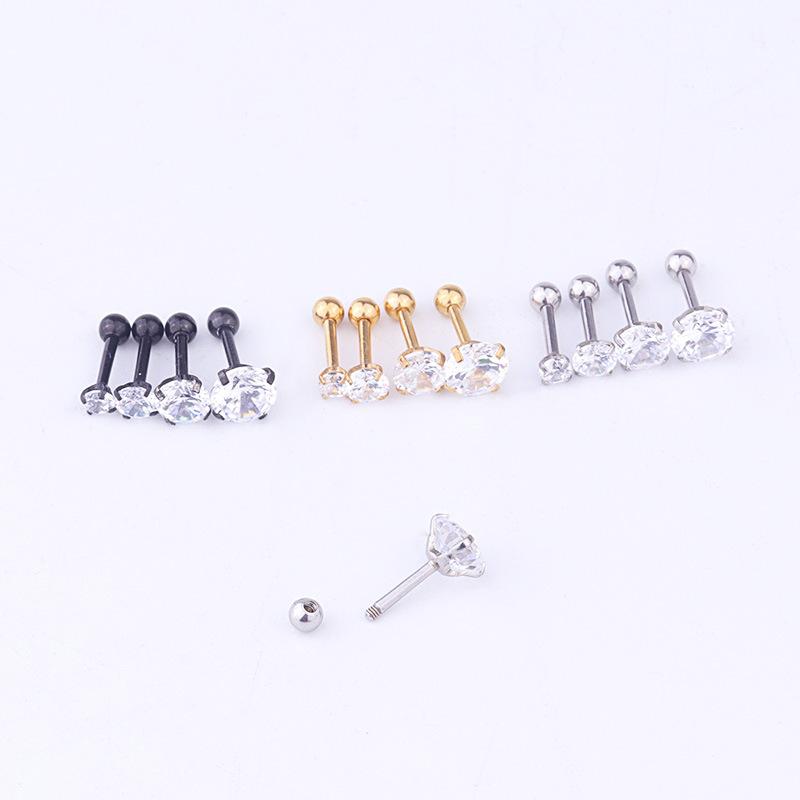 single popular ear bone studs round zircon screw earrings NHEN263956