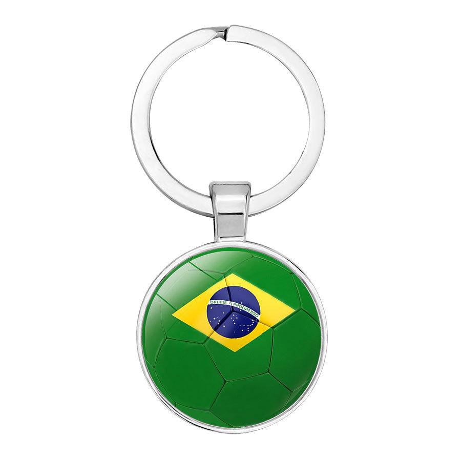 2018俄罗斯足球赛32强钥匙扣 足球国旗时光宝石钥匙圈汽车挂件