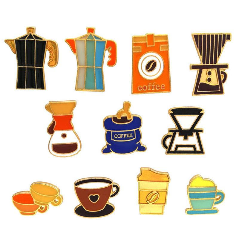 الرجعية الأمريكية باريستا بروش آلة القهوة فنجان القهوة وعاء شارة تذكارية هدية معدن نازف الصدار الكرتون