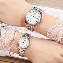 新款情侣表一对钢带时尚日历手表?#20449;可?#21153;情侣手表