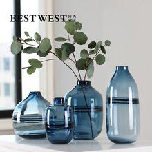 高档透明蓝色玻璃花瓶 欧式奢华样板房客厅彩色创意插花瓶 混批