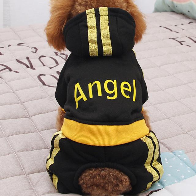 狗狗衣服秋冬装泰迪小型犬猫咪博美幼犬宠物加绒加厚四脚字母棉衣