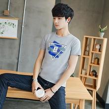 夏季短袖潮流时尚帅气短袖t恤男韩版修身圆领休闲青年男士半袖衫