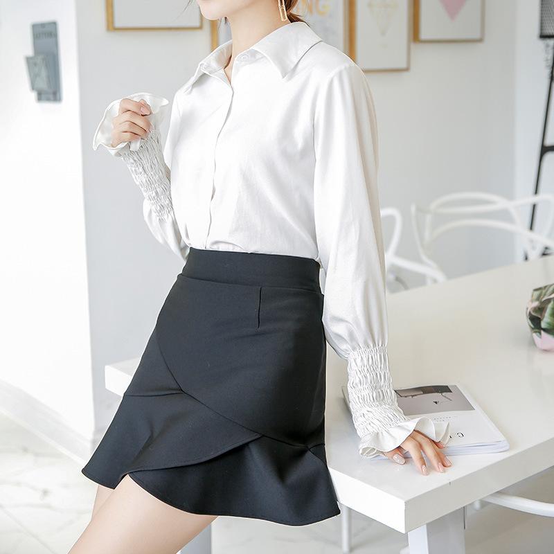 新款荷叶边短裙防走光半身裙高腰裙弹力大码修身职业OL女黑裙子