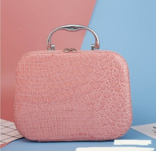 Cosmetic bag cute stone pattern cosmetic bag with mirror storage and finishing bag portable small square female bag gift bag