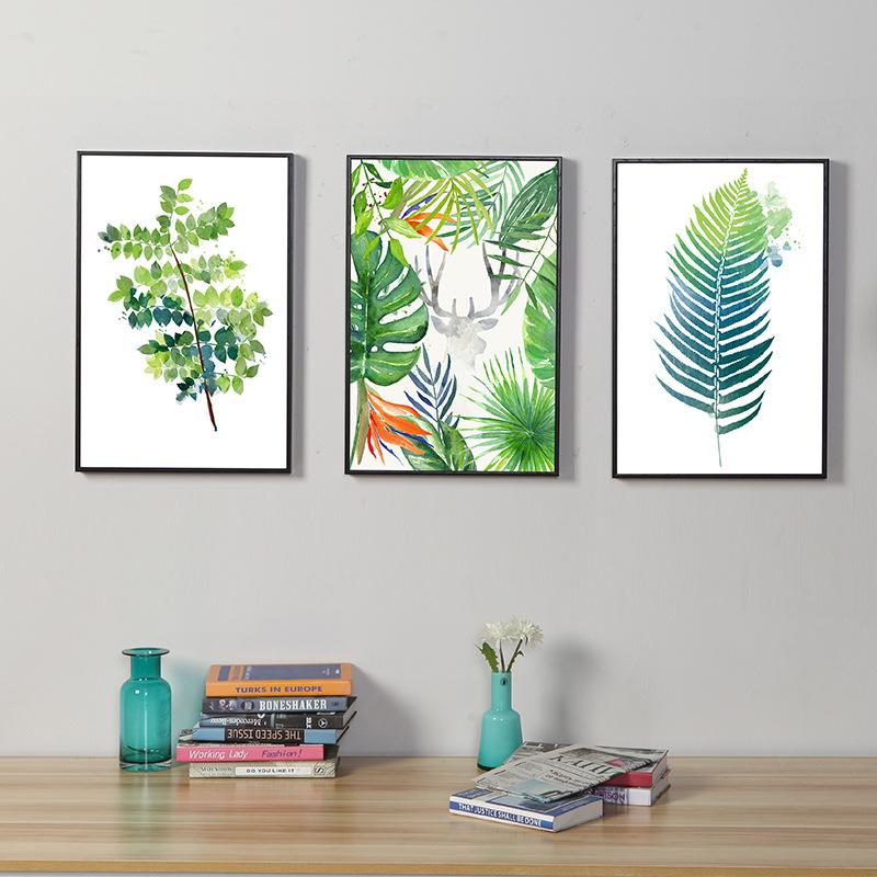 北欧简约装饰画客厅挂画照片墙派卧室花卉清新植物组合三联树脂画